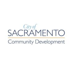 This image shows the City of Sacramento Community Development Logo, there are no depictions on this logo other than those words.