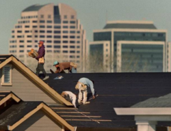 This image shows construction workers on a roof of a downtown building laying tile and shingles.