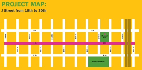 J Street Safety Project Map 19th to 30th Streets