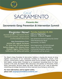 2016 Sacramento Gang Prevention & Intervention Summit Flyer - Small