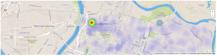 Heat map from the City of Sacramento Development Tracker Tool