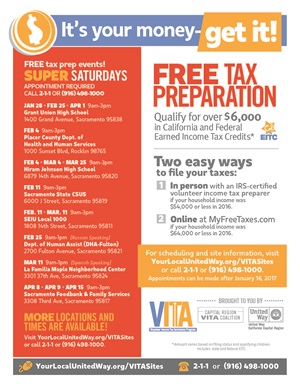 Free tax preparation flyer
