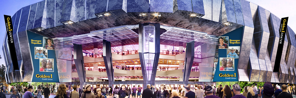 Exterior rendering of the Golden 1 Center