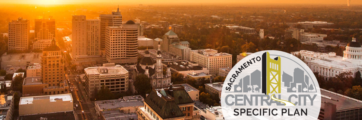 Aerial photo of Sacramento with CCSP logo