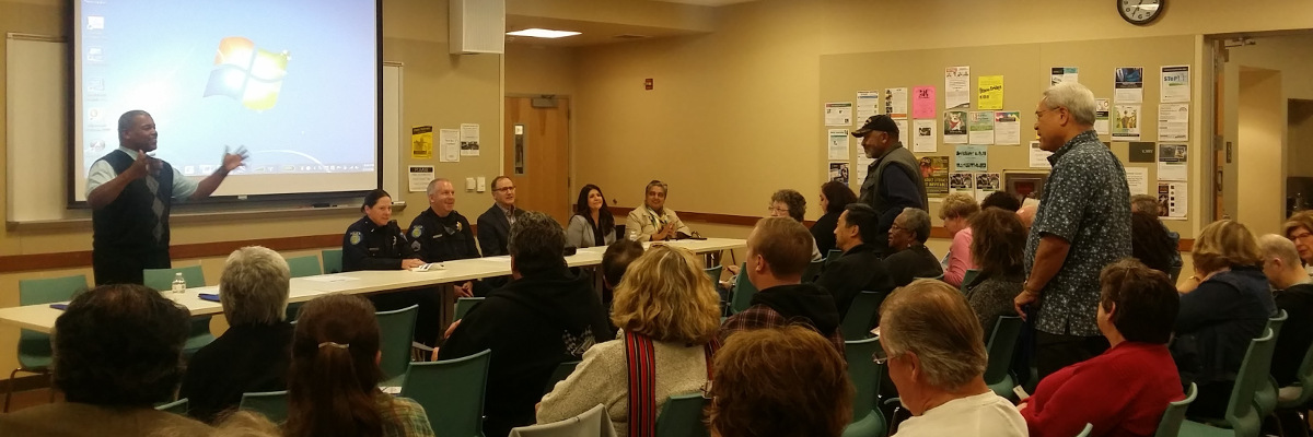 Vice Mayor addressing constituent concerns at the annual community discussion on February 17th
