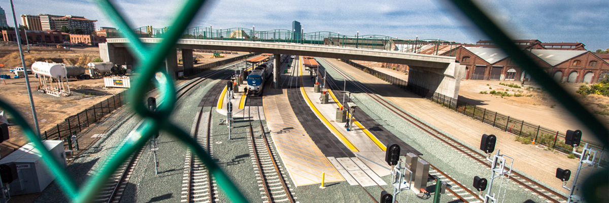 The completed rail realignment at the Railyards