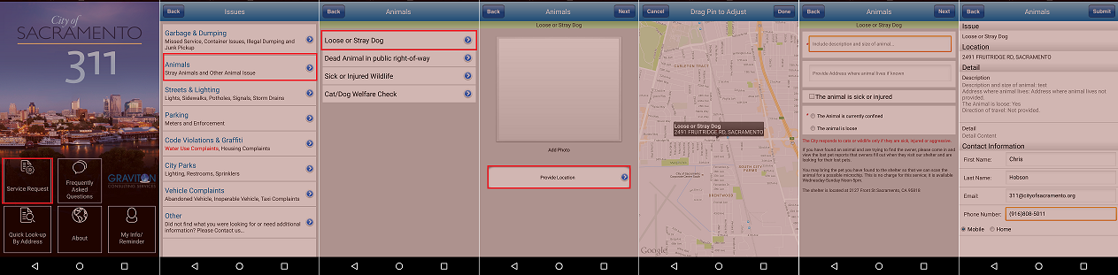 Step-by-step process on submitting a request through the Sac311 smartphone app.