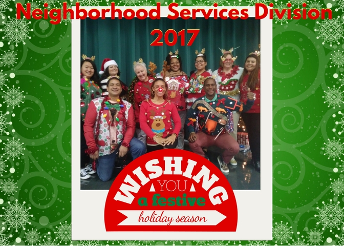 Happy Holidays from your Neighborhood Services Division Team