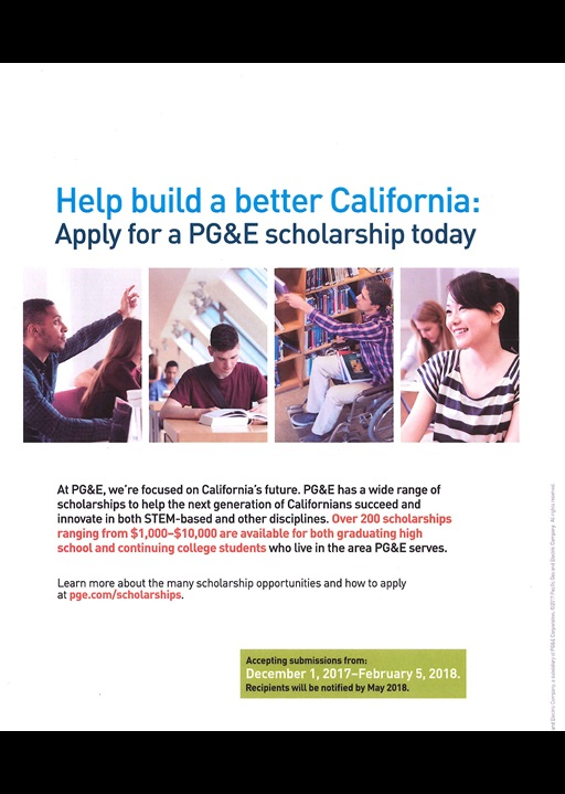 PG&E Scholarships 2018