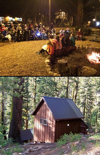Photo composite of Campfire and Cabin from Hart Senior Camp at Camp Sacramento