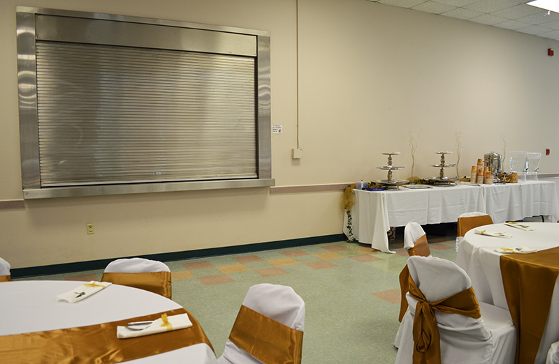 Hart room rental for celebrations - kitchen passthrough.