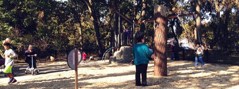 Woman and child using swings at Bannon Creek Park Playgound Opening - opened November 2015