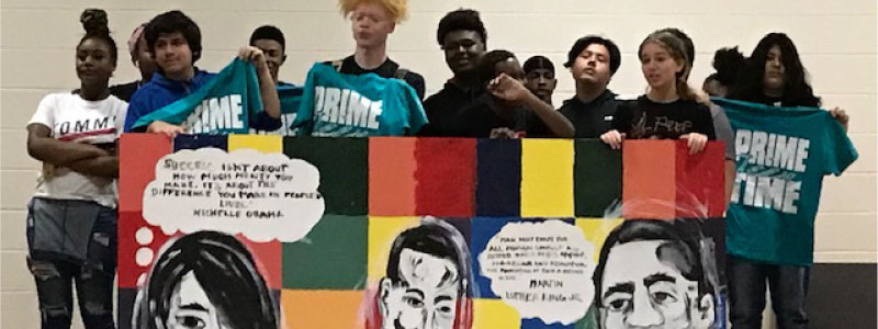 Prime Time Teen Web page Banner Photo of teens in program and their mural