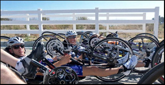 Individuals cycling from Santa Cruz to Monterey