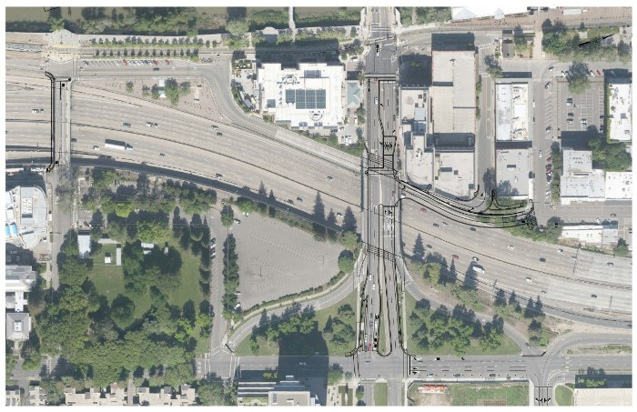 Aerial view over I-5 showing proposed location of connection