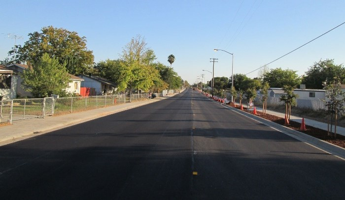 Newly paved streets and addition of street landscape and sidewalks