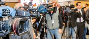 Video cameras setup by media at an event