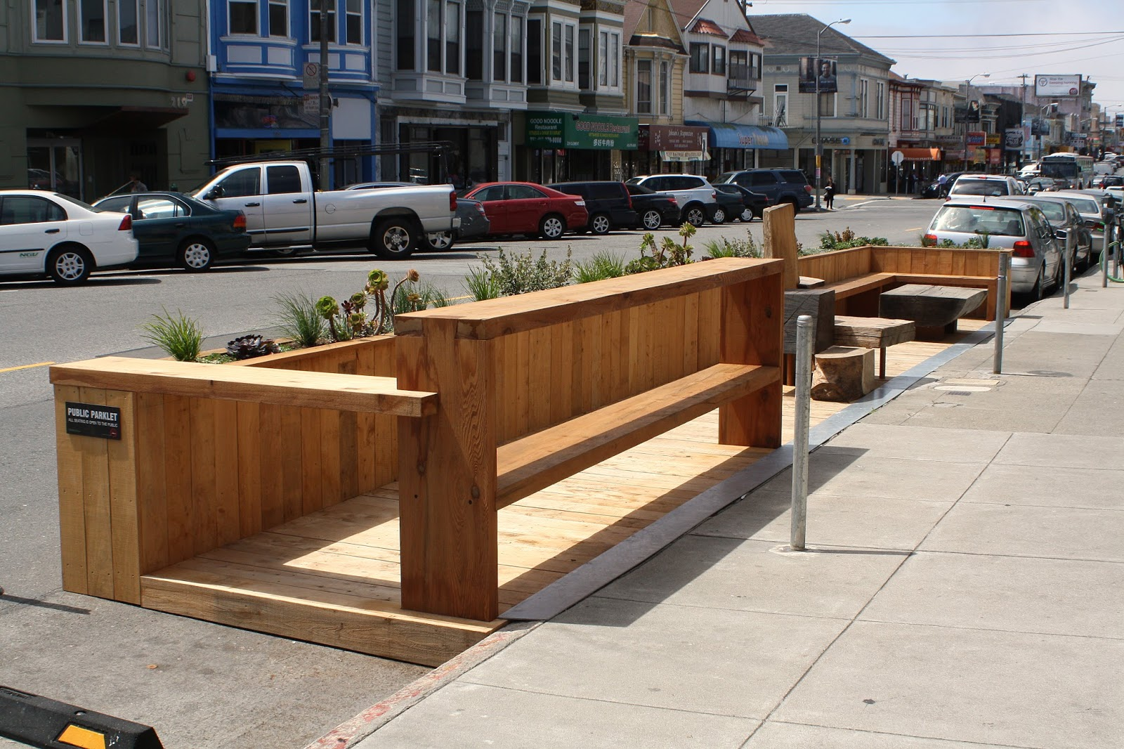 Example of a parklet in San Francisco