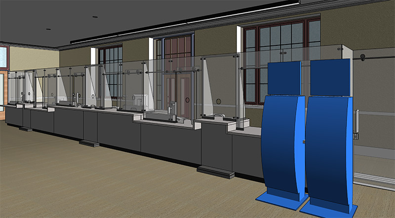Sacramento Valley Station Amtrak Ticket Counter rendering