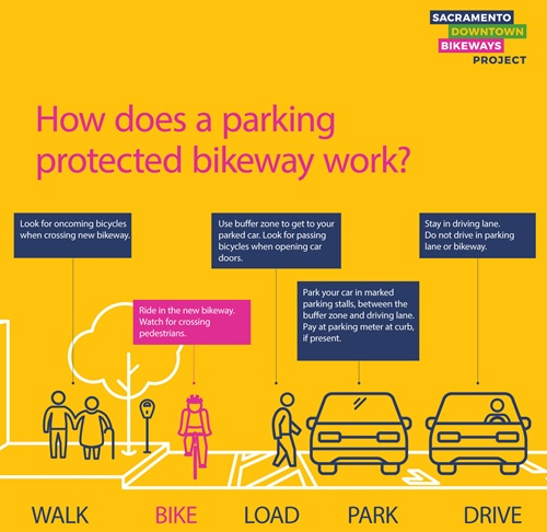 Parking Protected Bikeway Graphic