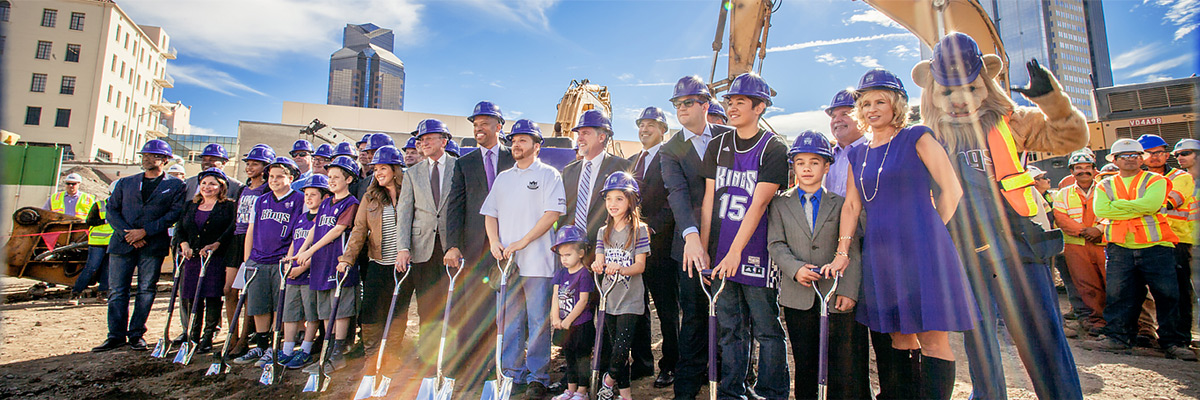 Group shot during the Sacramento Kings Arena groundbreaking event on October 29, 2014.