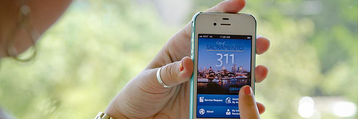 Cell phone showing the City of Sacramento 311 app