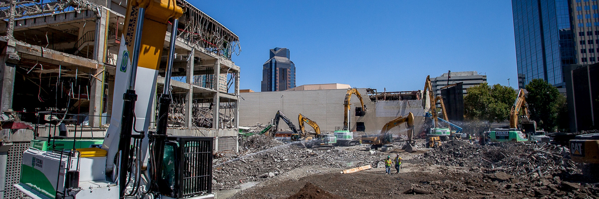 ESC construction continues with the demo of Macy's Mens.