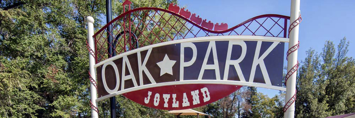 Oak Park Joyland Sign designed after Rollercoaster