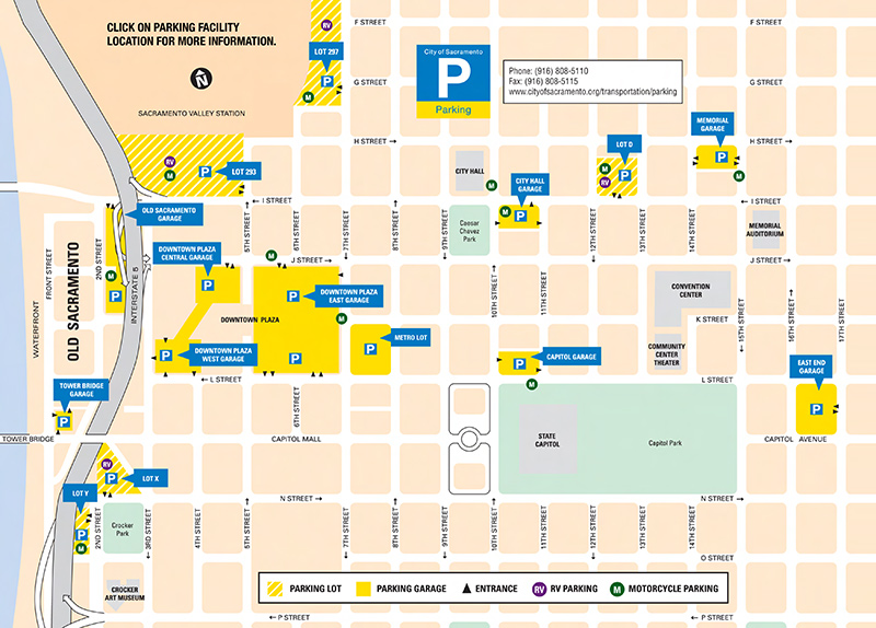 City of Sacramento Garage and Parking Lot Map