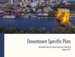 This is a cover photo of the DAG summary of findings. It has the title and date of the report and shows an aerial shot of the I street bridge and the river along with downtown building in the top corner of the picture.