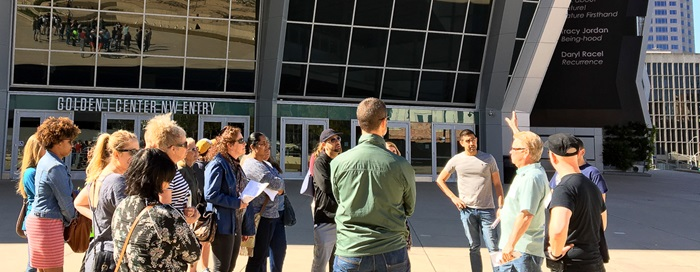 2017 Citizen's Planning Academy walking tour by Golden 1 center