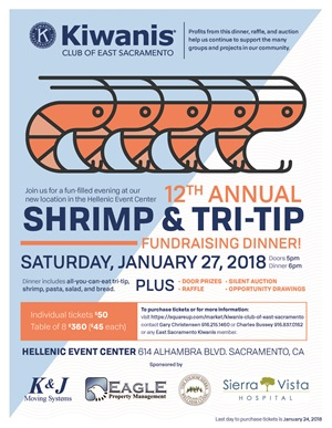 kiwanis shrimp and tri-tip  fundraising dinner 1/27/18 at 5pm