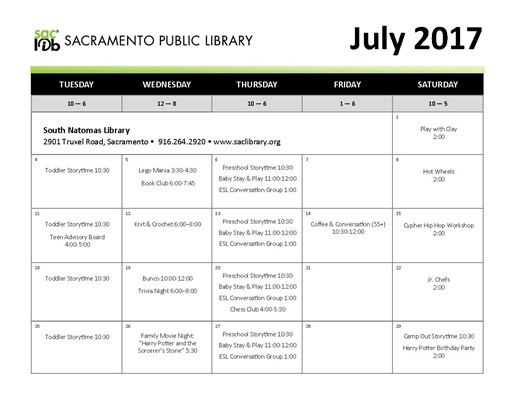 July Library Schedule