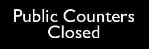 Text saying Public Counters Closed