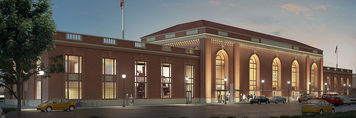 Sacramento Valley Station exterior dusk shot