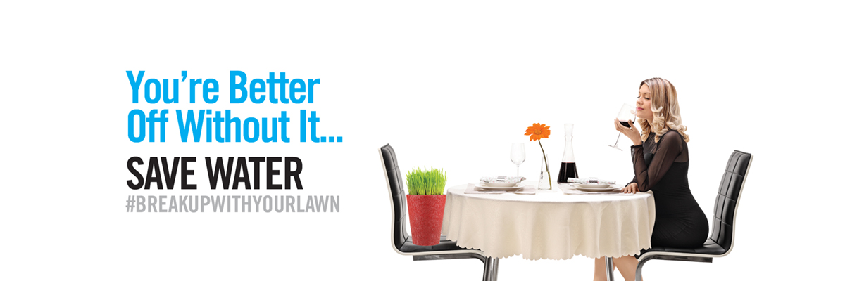 you're better off without it... save water #breakupwithyourlawn. Woman sitting at dinner table across from pot of grass.