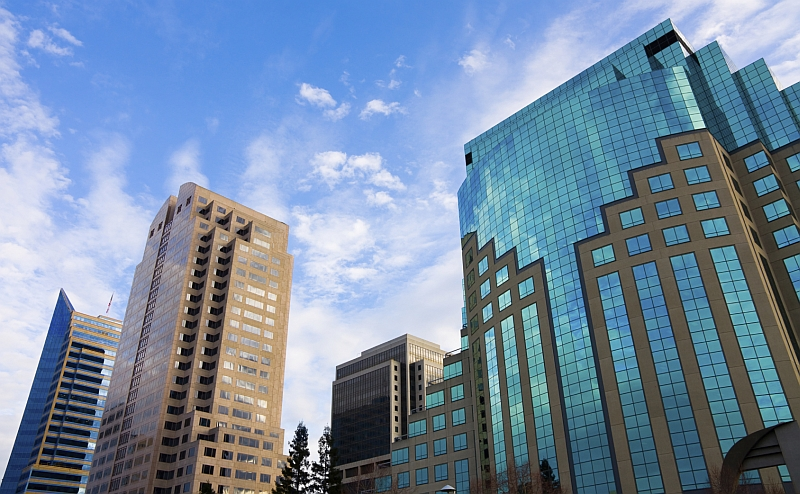 Downtown Sacramento buildings with clouds