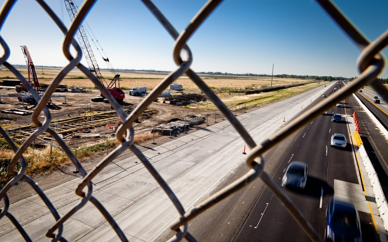 I-5 Freeway next to construction, Cosumnes River Blvd Extension Project