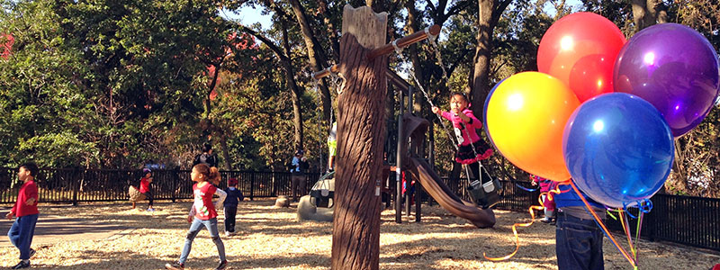 People enjoying Bannon Creek Park Playgound - opened November 2015
