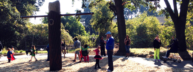 People checking out Bannon Creek Park Playground during Opening - opened November 2015