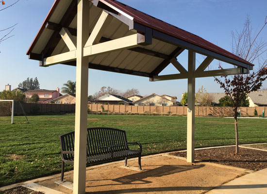 Guerrero Park Bench with Shade Structure Photo 1