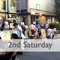 Image link to the Second Saturday Permit page with photo of Artists and Patrons of Second Saturday