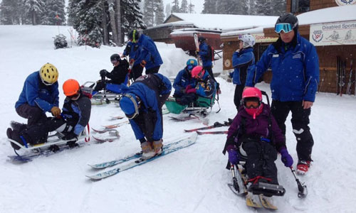 Campers preparing to ski