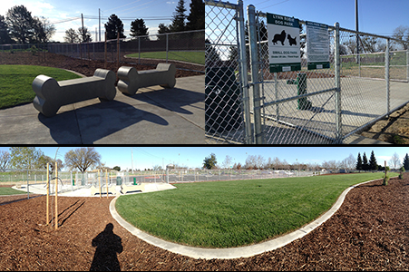 Lynn Robie Dog Park Dog Bone Benches, overall park image, and small dog section