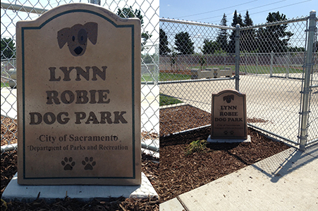 Lynn Robie Dog Park Sign close-up and in context.