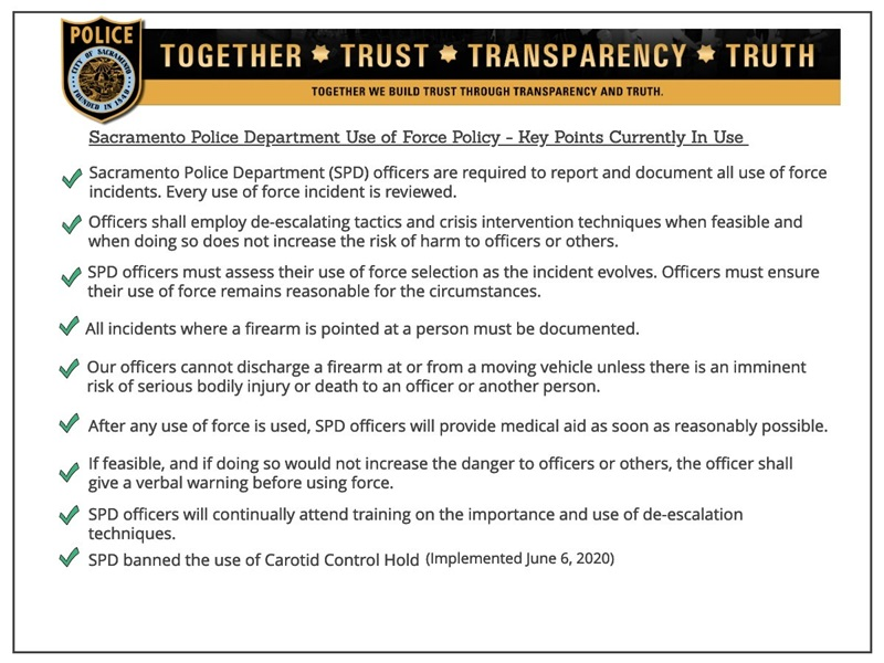 Key Points from the Sacramento Police Department's Use of Force Policy
