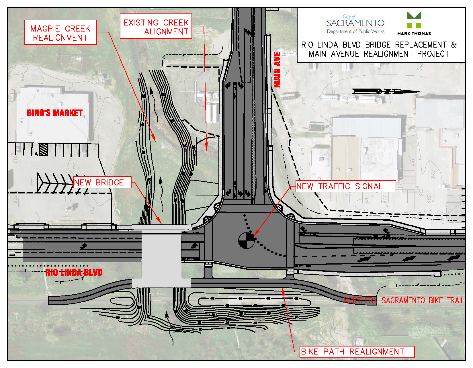 Diagram of proposed intersection and bridge improvements