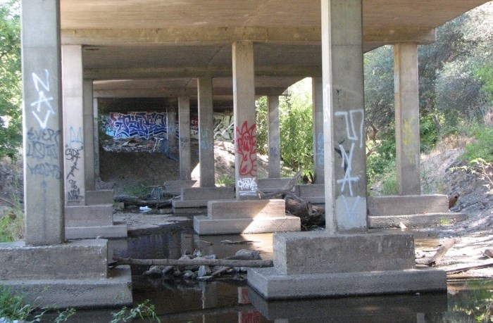 Underneath Roseville Road Bridge, graffiti on pillars