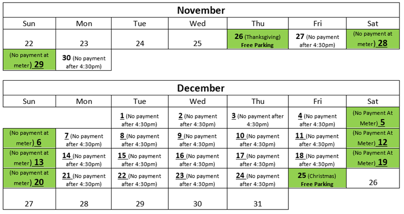 city of sacramento 2015 holiday parking free meter calendar - Free Holiday Pics