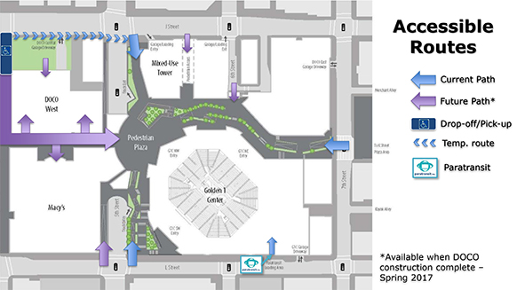 Golden 1 Center Accessible Routes map